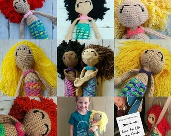 Custom Mermaid Doll, Crocheted with Curly Hair Handmade in the USA