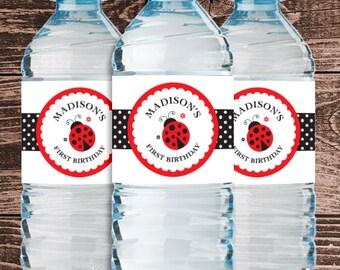 Personalized Ladybug Party Water Bottle Labels – DIY Printable (Digital File)