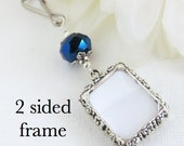 2 sided Wedding bouquet photo charm. Memorial photo charm double sided - DIY or I do photos. Metallic blue. Bridal shower gift. Sister gift