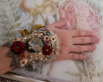 Fairytale cuff, Victorian bracelet cuff, flower cameo bead embroidery Bohemian jewelry, Marie Antoinette inspired fabric bracelet