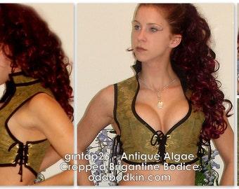 Odd Bodkin Cropped Brigantine Bodice in Antique Algae Brocade - Made to Order - grntap26