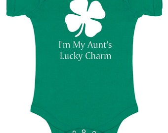 Aunt's Lucky Charm- St. Patrick's Day Short Sleeve Bodysuit for baby/infant