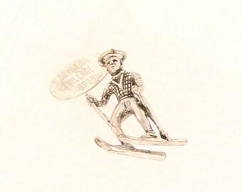 Vintage Cross Country Skier Charm Pendant Sterling Silver Souvenir Bavarian Village Swiss Alpine Travel