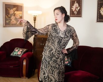 Vintage 1930s Dress - Incredible Black and Ivory Abstract Print Silk Chiffon 30s Dress and Matching Jacket with Wide Lace Trim