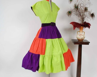 Vintage 1950s Dress - Bold Lime Green, Purple and Hot Coral Colorblock Cotton Circle Skirt 50s Summer Dress