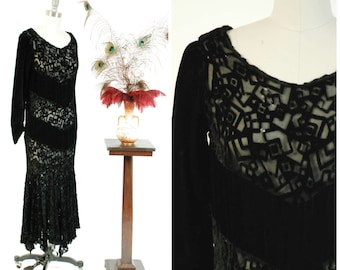Vintage 1930s Dress - Rare Velvet Devoré Deco Cubist Motif Burnout Gown with Handkerchief Hem