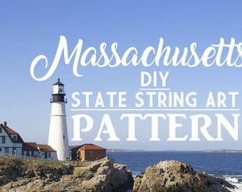 "Massachusetts - DIY State String Art Pattern - 11"" x 7"" - Hearts & Stars included"