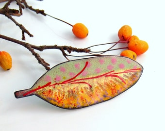 Original Leaf Jewelry, Copper Enameled Big Art Pin, Yellow Red and Pink Brooch, One of a Kind Vitreous Enamel Lapel Pin, WillOaks