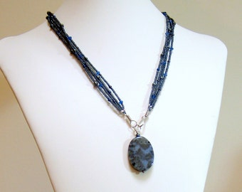 Beaded Multi Strand Blue Agate Pendant, Polished Stone with Seed Beads Czech Glass Hematite, Original Pendant Design, Easy Front Hook Close