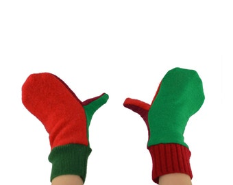 Kids Mittens in Holiday Elf - Red Green - Recycled Wool Sweaters