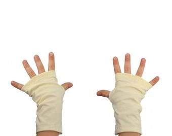 Kids Arm Warmers in Cream - Off White Vanilla - Organic Cotton Soy Fingerless Gloves