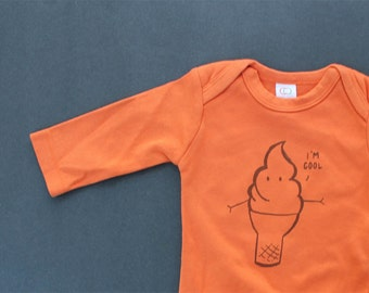 Ice cream cone I'm cool long sleeve bodysuit organic cotton baby clothes screen printed funny baby clothes