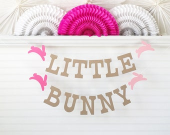 Little Bunny Banner - 5 inch Letters with Bunny - Bunny Baby Shower Banner Bunny Birthday Party Spring Baby Garland Rabbit Easter Decoration