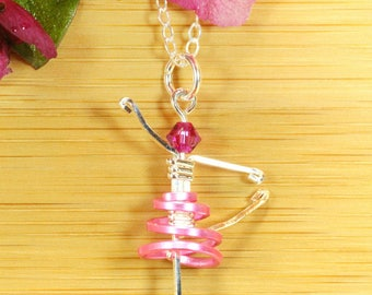 Pink Child Ballerina Necklace ~ Sterling Ballerina necklace ~ Ballet jewelry ~ Ballerina Pendant ~ Dance Necklace ~ Children jewelry