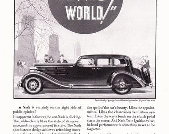 1934 Nash Automobile Advertisement - Vintage Antique 30s Era Art Ad for Framing