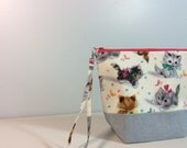 Small Project Bag - cute retro kittens