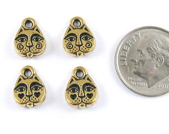 TierraCast Pewter Charms-Antique Gold KITTY CAT FACE (4)