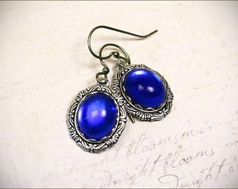 Blue Victorian Earrings, Sapphire Renaissance Jewelry, Medieval Jewelry, Ren Faire Wedding, Bridesmaid Earrings, Bridal, Angelica