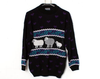 Vintage 80s KAWAII Sheep Sweater Rose Hearts Purple and Black