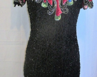Vintage Beaded Black Silk Dress Swee Lo Sequin Dress Keyhole Back Cocktail Holiday Party New Years LBD Gown Size 8/10