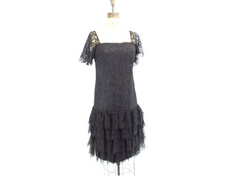 Black Lace Dress 80s Party Dress Original Junior Vogue Black Party Dress 1980s Vintage Dress Black Flapper Dress Chantilly Lace Dress  s