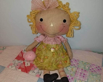 Cupcake Raggedy Ann cloth doll, Homespun from the Heart  cupcake doll collection, Easter decor, blond hair doll, spring raggedy