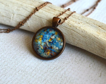 Glass Blue and Yellow Speckled Necklace- Copper Finish- Copper Necklace- Abstract Round Glass Pendant- Dotted Pendant- Southwest Necklace