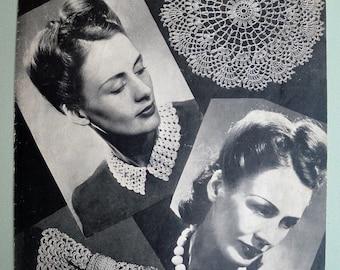 Vintage Crochet Pattern 1940s Women's Fashion Accessories - collar bow tie beads doily - 40s original pattern - Penelope Designs No. 1227 UK
