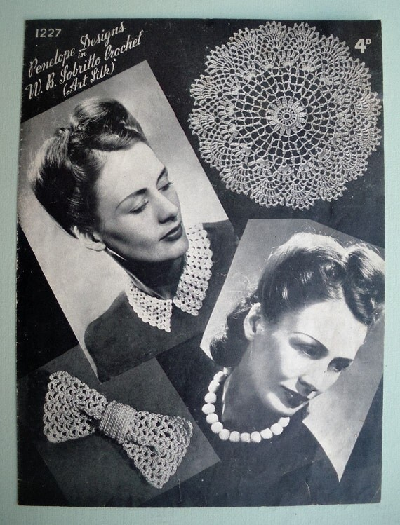 Vintage Crochet Pattern 1940s Women's Fashion Accessories