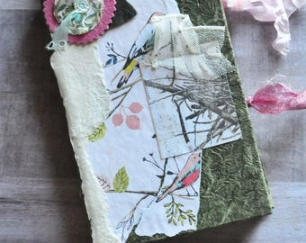 Handmade Junk Journal - Hand Stitched - Birds - Travel Journal - Adventure Book - Smash Book - Writing Diary - Art Journal - Memory Keeping