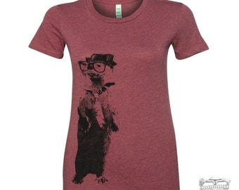 Womens River OTTER T Shirt -hand screen printed s m l xl xxl (+ Colors Available)
