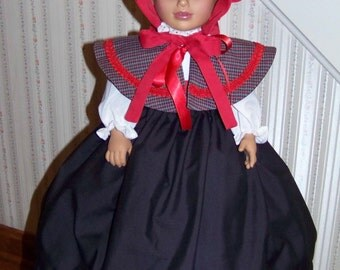 Civil War Doll clothes Cape with Skirt and Sash that will fit any 18 inch Doll Christmas Caroler