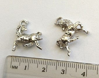 6 Unicorn Charms silver plated pewter