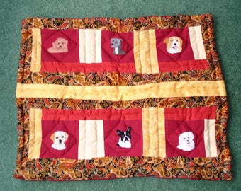 Dog Quilt Pad, Hand Embroidered, Hand Quilted