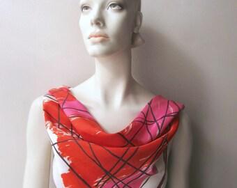 vintage vera fashion scarf geometric red pink black ladybug signature