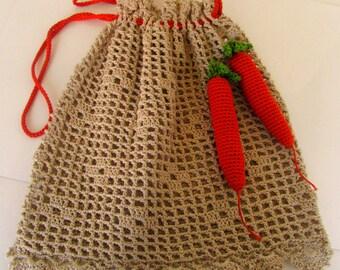 Vintage Crocheted Handbag Purse with Carrots Fun Novelty bag handmade Clutch Handbag Purse Hand Bag 1940s