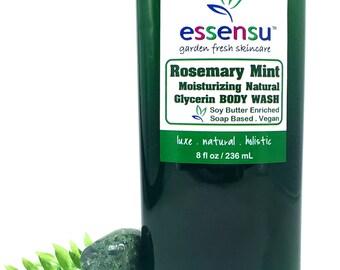 Rosemary Mint Aromatherapy Moisturizing Soap Based Body Wash | Refreshing , Uplifting | All Natural | Vegan | No Sulfates or Parabens - 8 oz