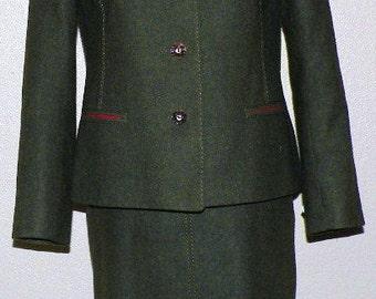 Trachten Erzherzog Johann Loden German/Austrian  Wool Two Piece Suit Size 6 OCTOBERFEST