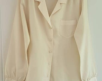 Vintage 70s Cream Long Sleeve Blouse Shirt by Astor One, Size 12