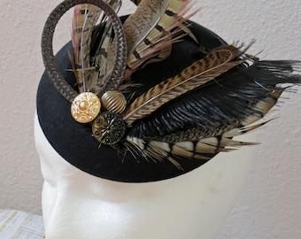 Back fascinator pheasant feathers fascinator mini hat REAL KATE