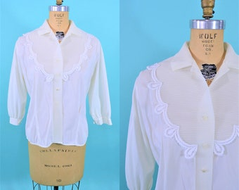 1950s nylon blouse | white button down embroidery trim detail top | vintage 50s blouse | W 38""
