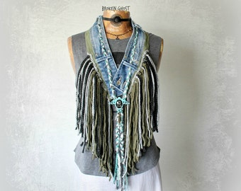 Fringed Tribal Scarf Women's Hippie Clothing Green Boho Necklace Bohemian Festival Upcycled Jeans Braided Jewelry Shaggy Fringe 'SYLVIE'