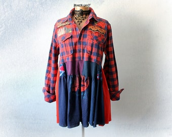 Plaid Flannel Shirt Upcycled Clothes Shabby Tunic Top Bohemian Clothing Red Art Shirt Women's Boho Fashion Country Style Top XLarge 'ROSIE'