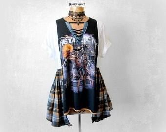 Metallica Shirt Recycle T-Shirt DIY Band Clothing Music Festival Clothes Women Plus Size Lace Up Black Rocker Shirt Heavy Metal XL 1X 'ANDI'