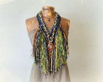 Yarn Fringe Necklace Bohemian Chic Scarf Western Clothing Wearable Art Gypsy Scarf Woodland Mori Girl Polished Stone Burning Man 'EVANGELINE