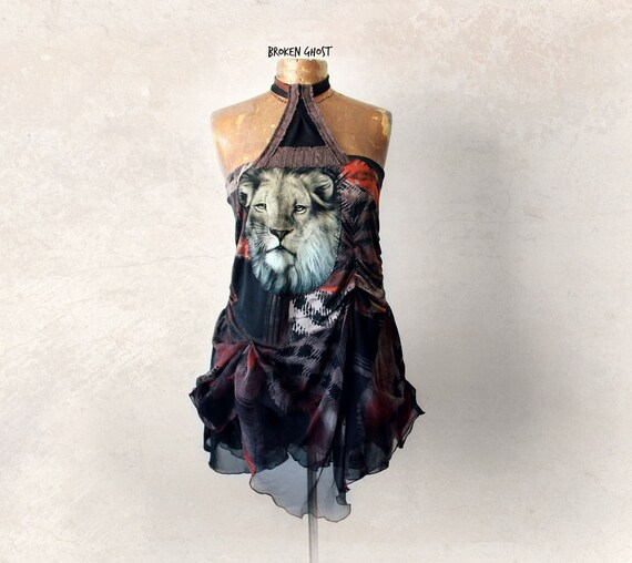 Boho Halter Top Upcycled Clothing Lion Shirt Gypsy Tank Top Women's Art Clothes Summer Fashion Blousy Draped Shirt Earth Colors M 'ANDREA'