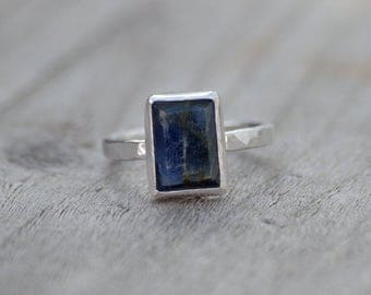 sapphire engagement ring in midnight blue, over 5ct blue sapphire wedding gift, something blue gift, handmade in the UK