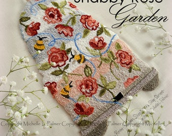 Shabby Chic Rose Skep Hive Bombus Honeybee Bumble Bee Punch Needle Embroidery DIGITAL Jpeg PDF PATTERN Michelle Palmer Painting w/Threads