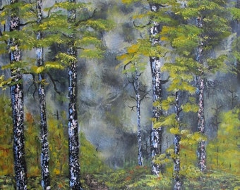 Autumn Woodland Landscape Painting 16x20 Contemporary Fine Art Acrylic on Canvas Modern Rustic Wall Decor Made to Order trees gray yellow