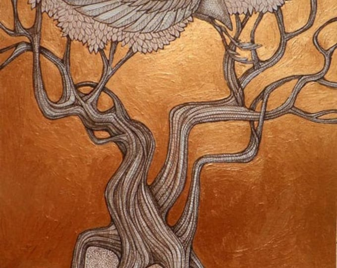 Art Nouveau Crane and Tree Art Print by Lynnette Shelley